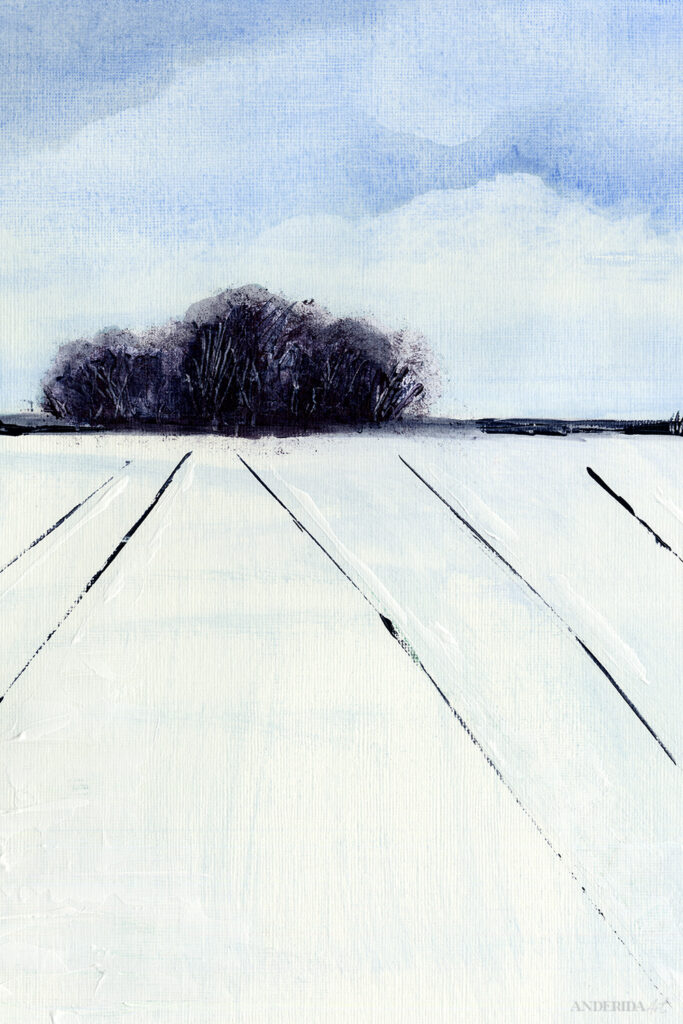 Blue winter Landscape Original Painting in acrylics