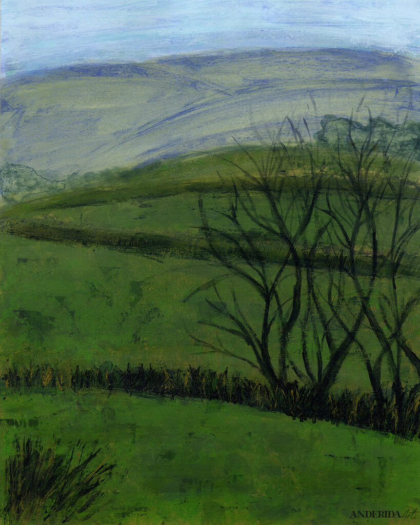 anderidaart green landscape with trees acrylic painting