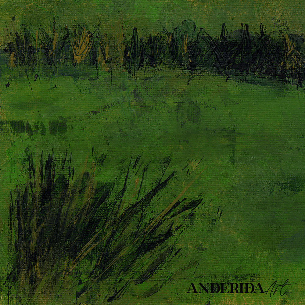 anderidaart green landscape with trees acrylic painting details