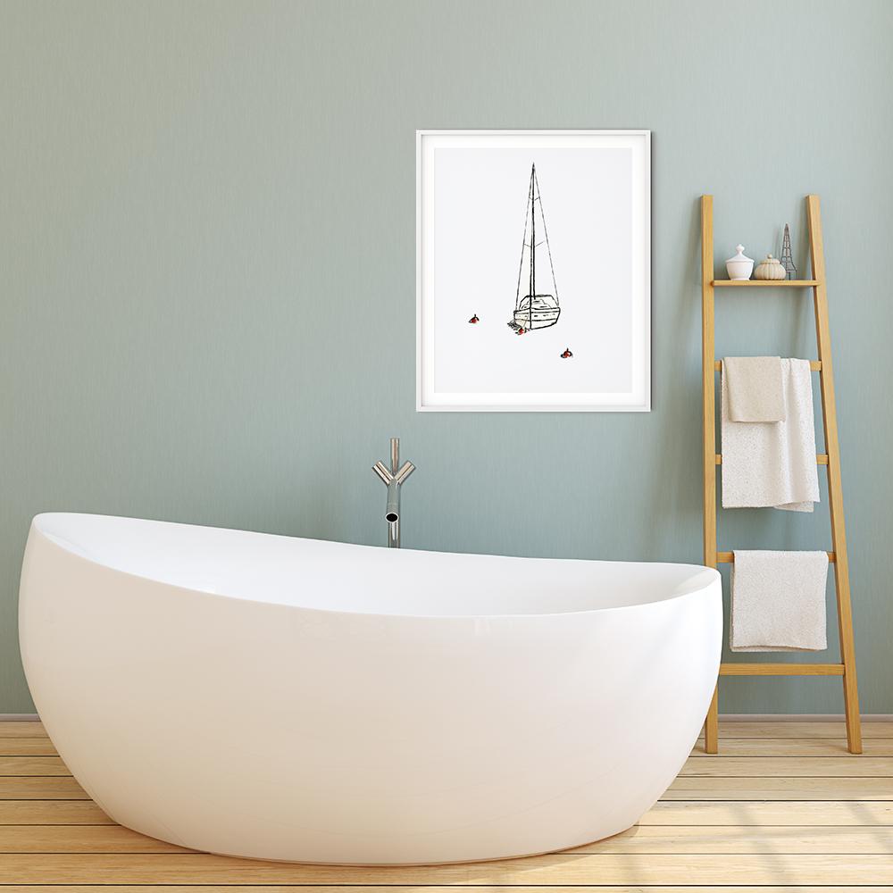 anderidaart yacht sketch digital art bathroom decor