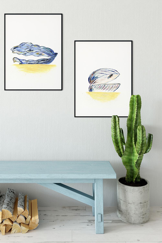 Sea shell digital print duo interior idea