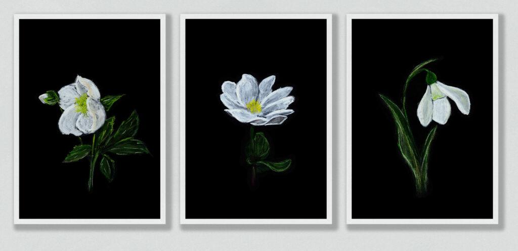 white spring flowers set of 3 anderidaart